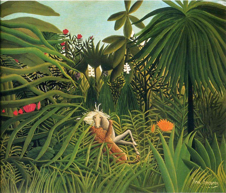 Jaguar Attacking a Horse  - Henri Rousseau