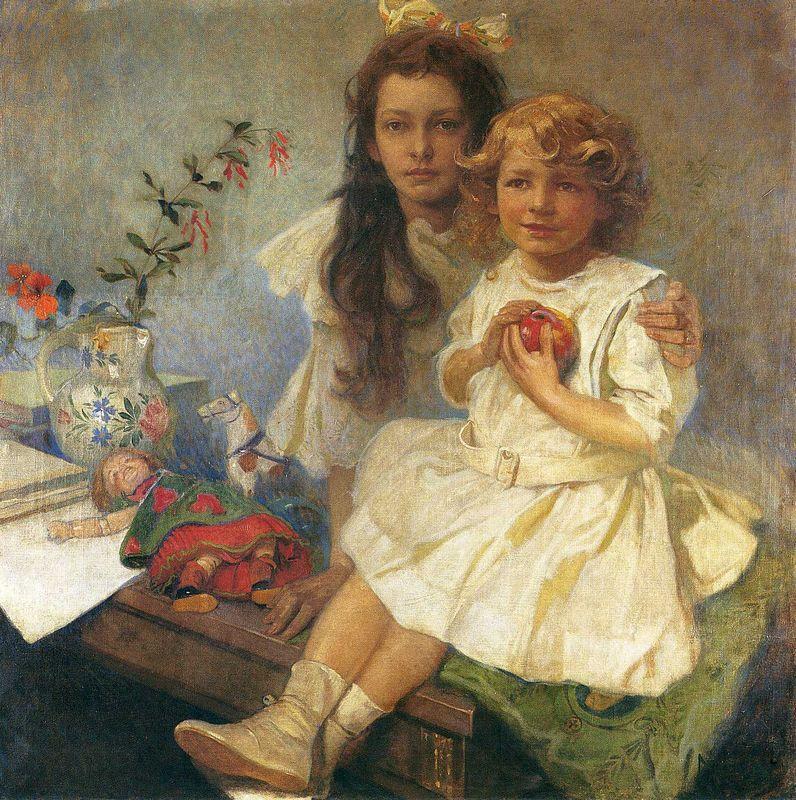 Jaroslava and Jiri The Artist s Children - Alphonse Mucha