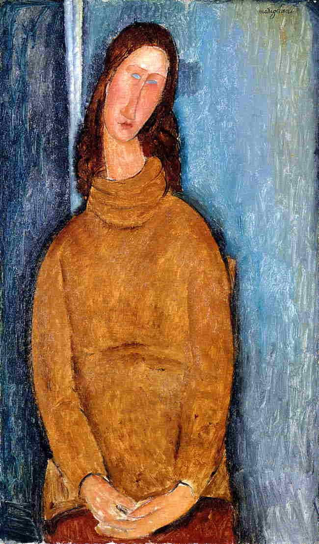 Jeanne Hebuterne in a Yellow Jumper - Amedeo Modigliani