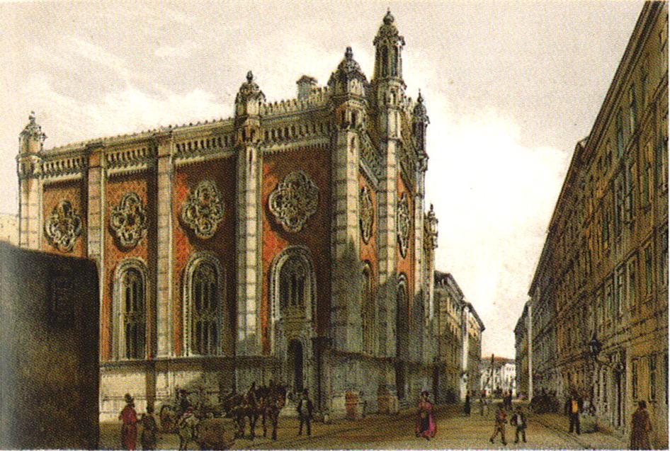 Jewish temple in the city Leopold - Rudolf von Alt