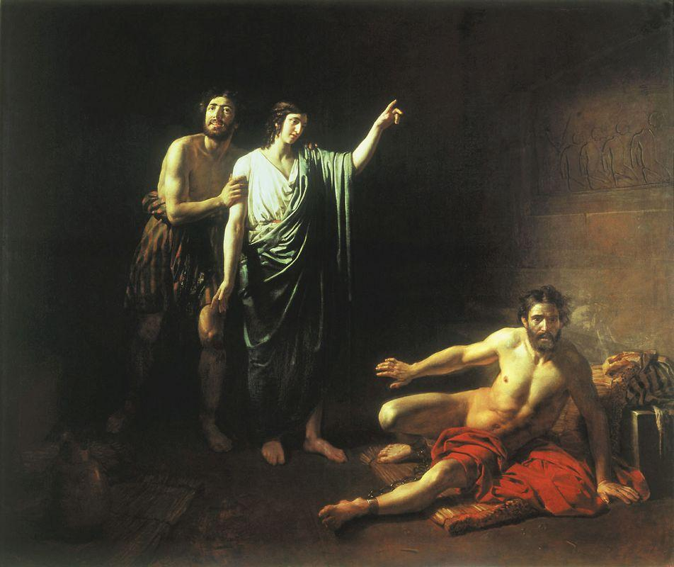 Joseph interpreting dreams to butler and baker, concluded with him in prison - Alexander Ivanov