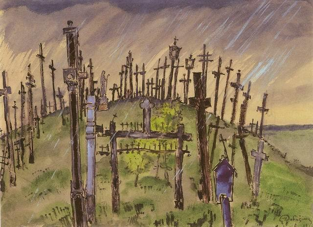 Jurgaiciai. The Hill of Crosses. - Mstislav Dobuzhinsky