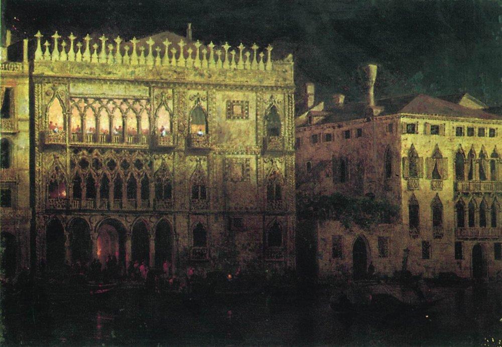 Ka d'Ordo Palace in Venice by moonlight - Ivan Aivazovsky
