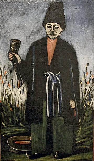 Karachoheli with a horn of wine - Niko Pirosmani