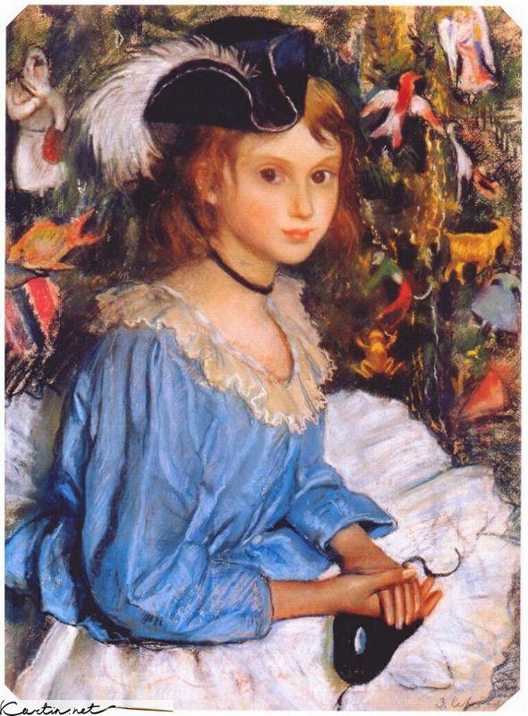 Katya in blue dress by christmas tree - Zinaida Serebriakova