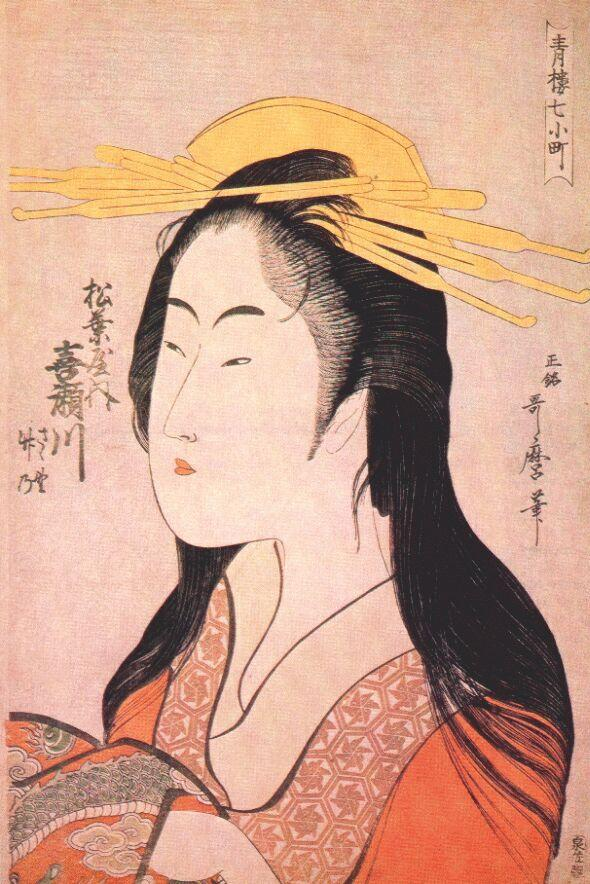 Kisegawa of Matsubaya, from the series 'Seven Komachis of Yoshiwara', c.1795 (woodblock print) - Kitagawa Utamaro