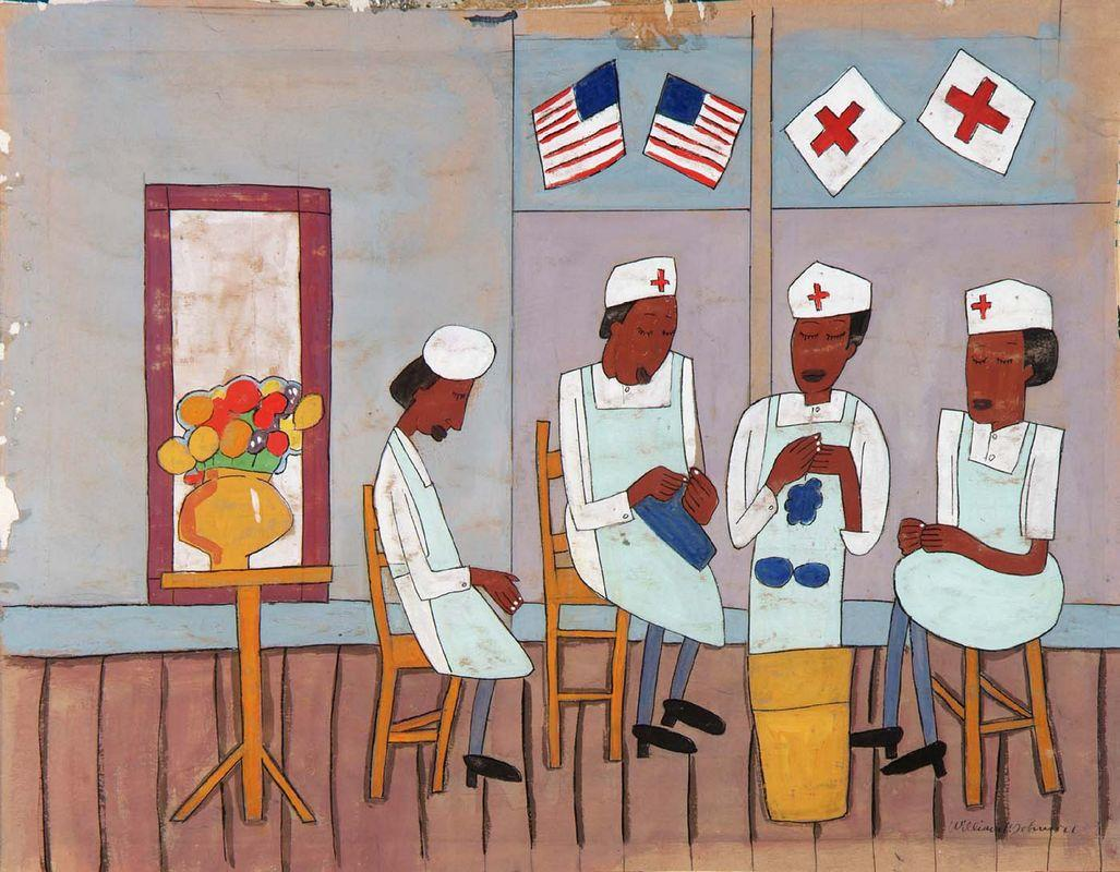 Knitting Party - William H. Johnson