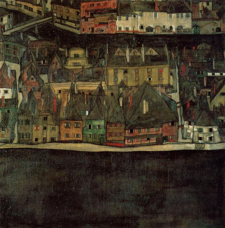 Krumau on the Molde, The Small City - Egon Schiele