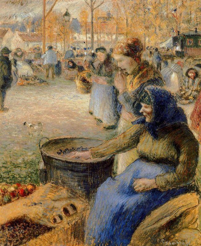 La Marchande de Marrons, Fiore de la St. Martin, Pontoise - Camille Pissarro