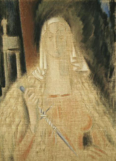 La temperanza, Woman Holding a Knife - Konstantinos Parthenis