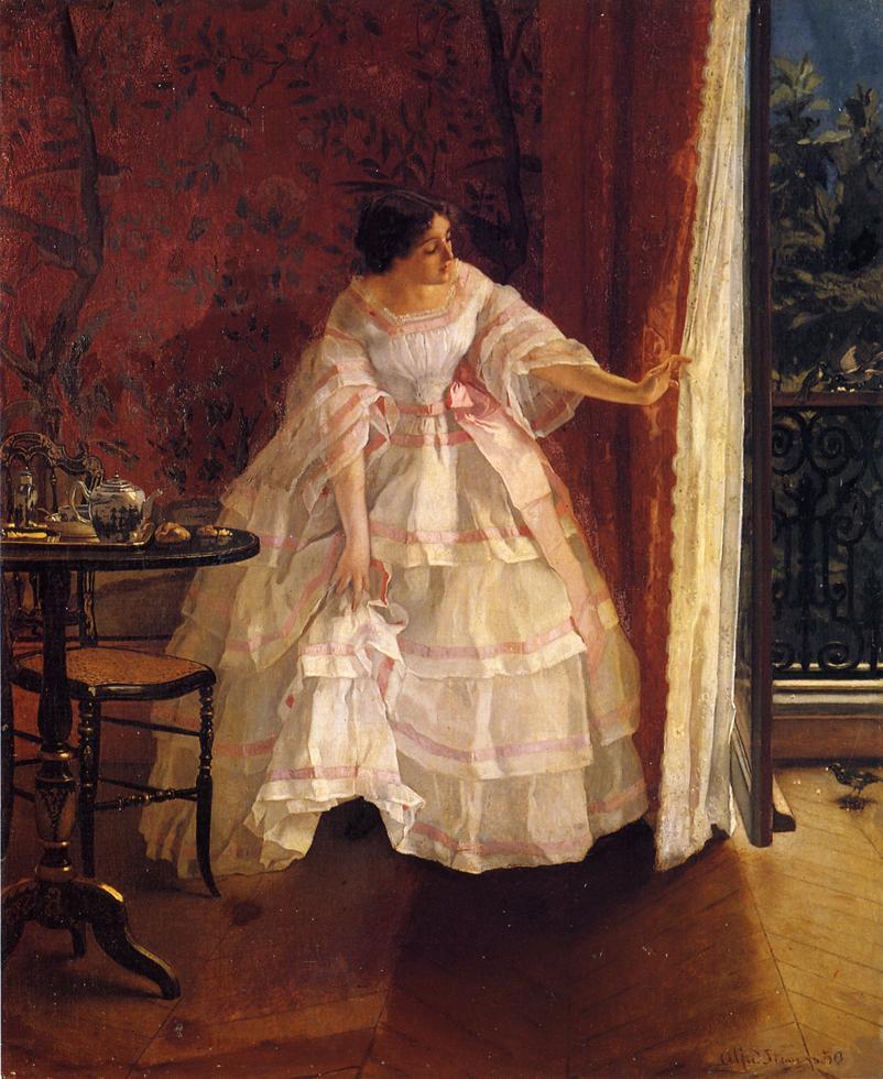 Lady at a Window Feeding Birds - Alfred Stevens