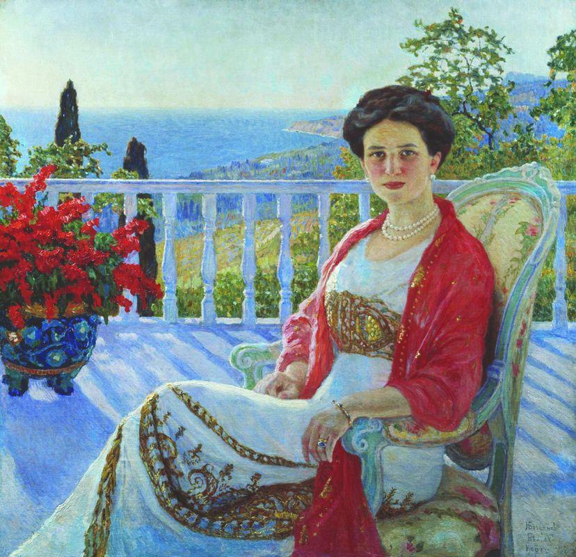 Lady on a Balcony, Koreiz - Nikolay Bogdanov-Belsky