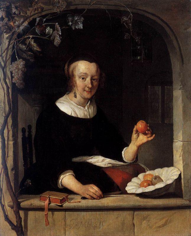 Lady Seated in a Window - Gabriel Metsu
