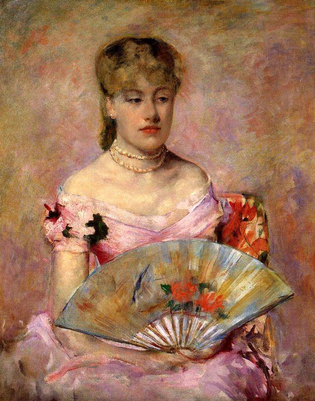 Lady with a Fan (Portrait of Anne Chlotte Gailld) - Mary Cassatt