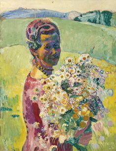 Lady With Flowers - Anna Amiet With Flowers - Cuno Amiet