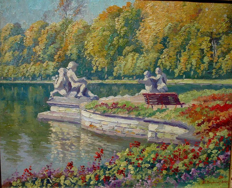 Lake and Gardens with Statuary Landscape - Nikolay Bogdanov-Belsky