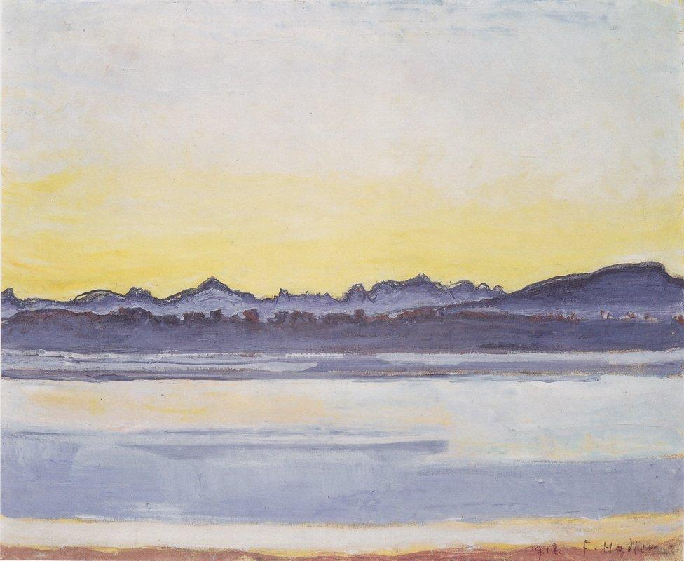 Lake Geneva with Mont Blanc before sunrise - Ferdinand Hodler