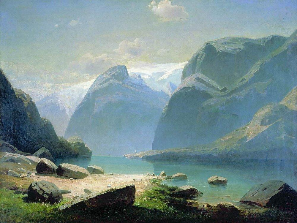 Lake in the Swiss mountains - Aleksey Savrasov