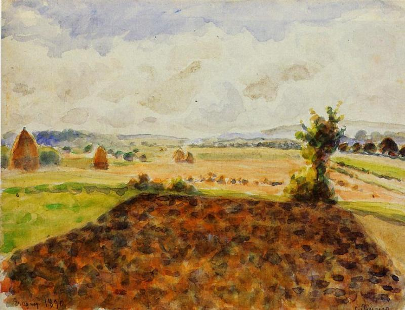 Landscape at Eragny, Clear Weather - Camille Pissarro