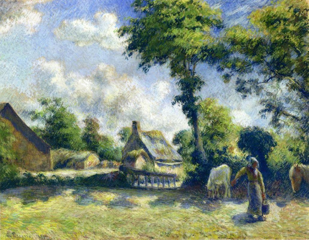 Landscape at Melleray, Woman Carrying Water to Horses - Camille Pissarro