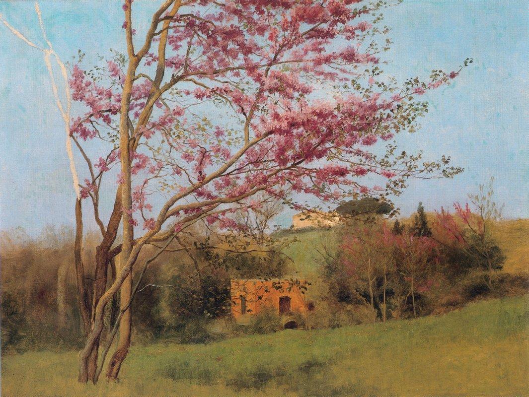 Landscape: Blossoming Red Almond (study) - John William Godward