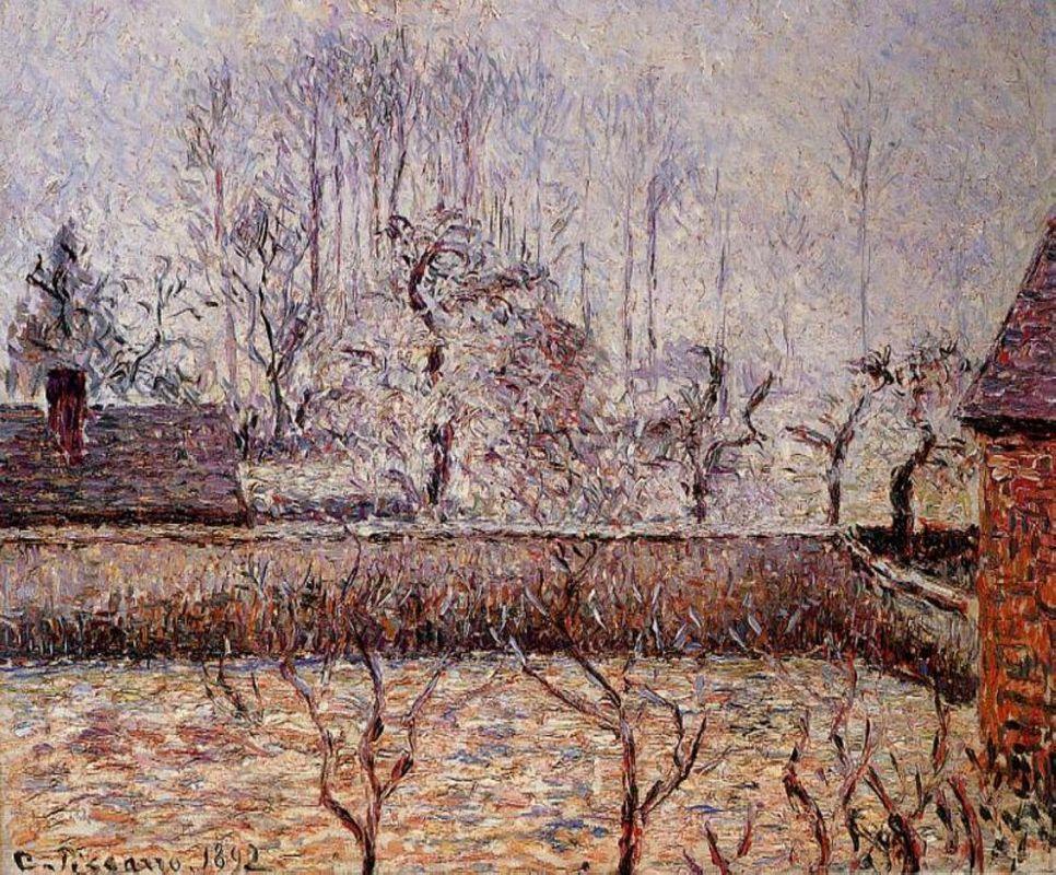 Landscape, Frost and Fog, Eragny - Camille Pissarro