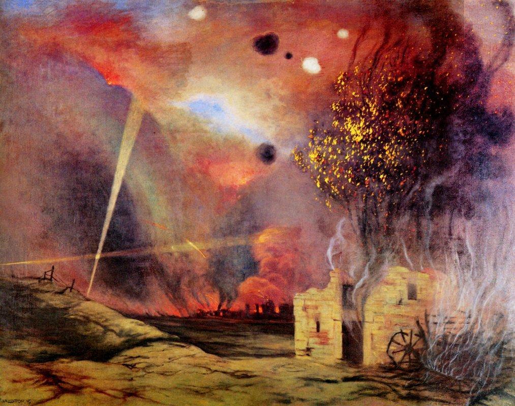 Landscape off ruins and fires - Felix Vallotton