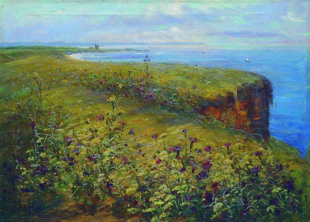 Landscape (Sea and Flowers) - Konstantin Makovsky