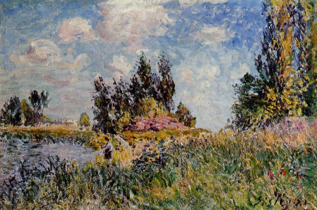 Landscape The Banks of the Loing at Saint Mammes - Alfred Sisley