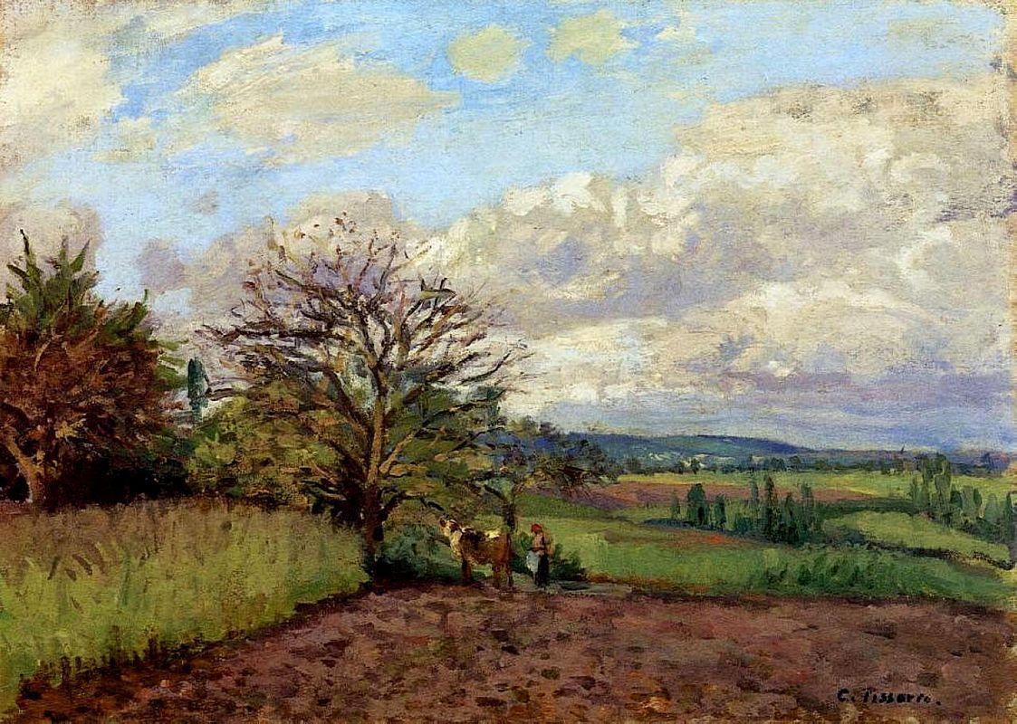Landscape with a Cowherd - Camille Pissarro