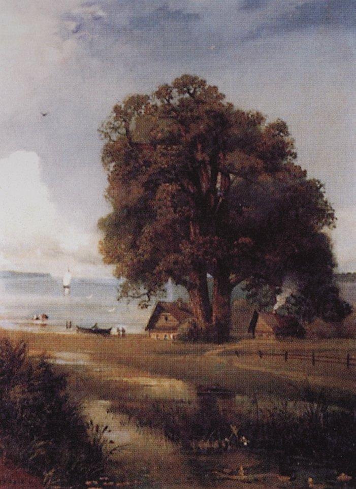 Landscape with a farm near Lake - Aleksey Savrasov