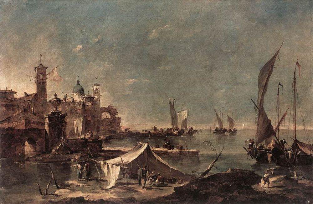Landscape with a Fisherman's - Francesco Guardi
