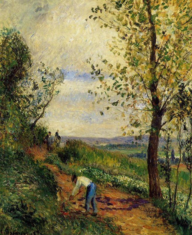 Landscape with a Man Digging - Camille Pissarro