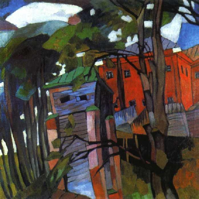 Landscape with a red house - Aristarkh Lentulov