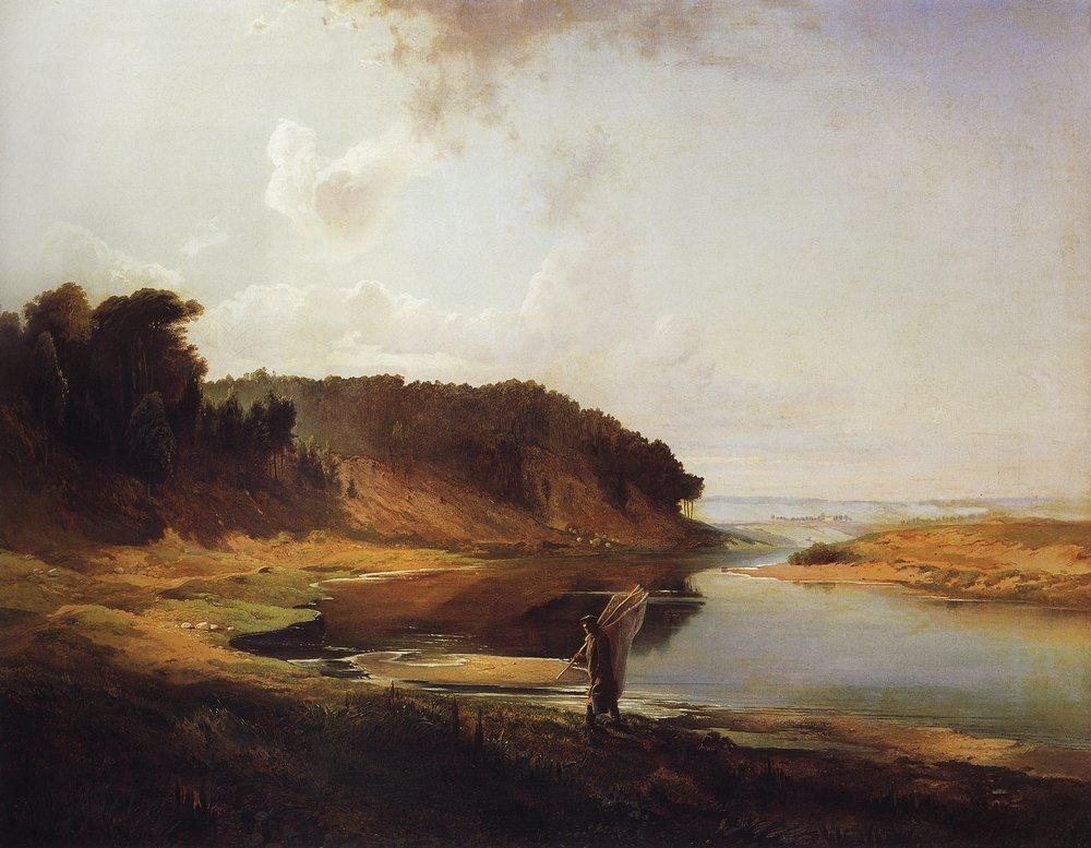 Landscape with a River and an Angler - Aleksey Savrasov