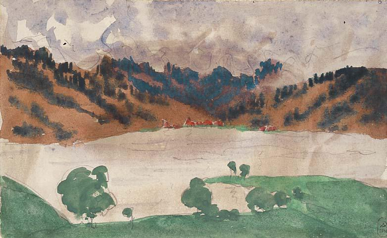 Landscape with a River (Norway between Bergen and Christiania) - Anna Ostroumova-Lebedeva
