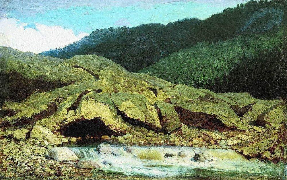 Landscape with a Rock and Stream - Fyodor Vasilyev