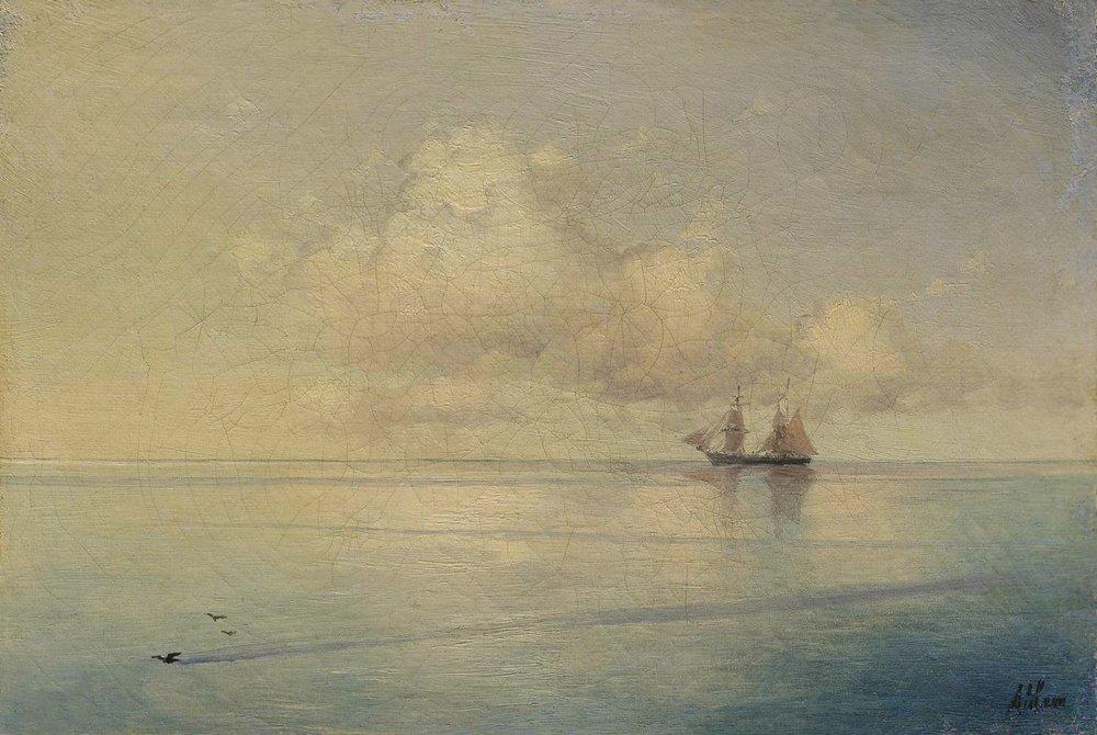 Landscape with a sailboat - Ivan Aivazovsky