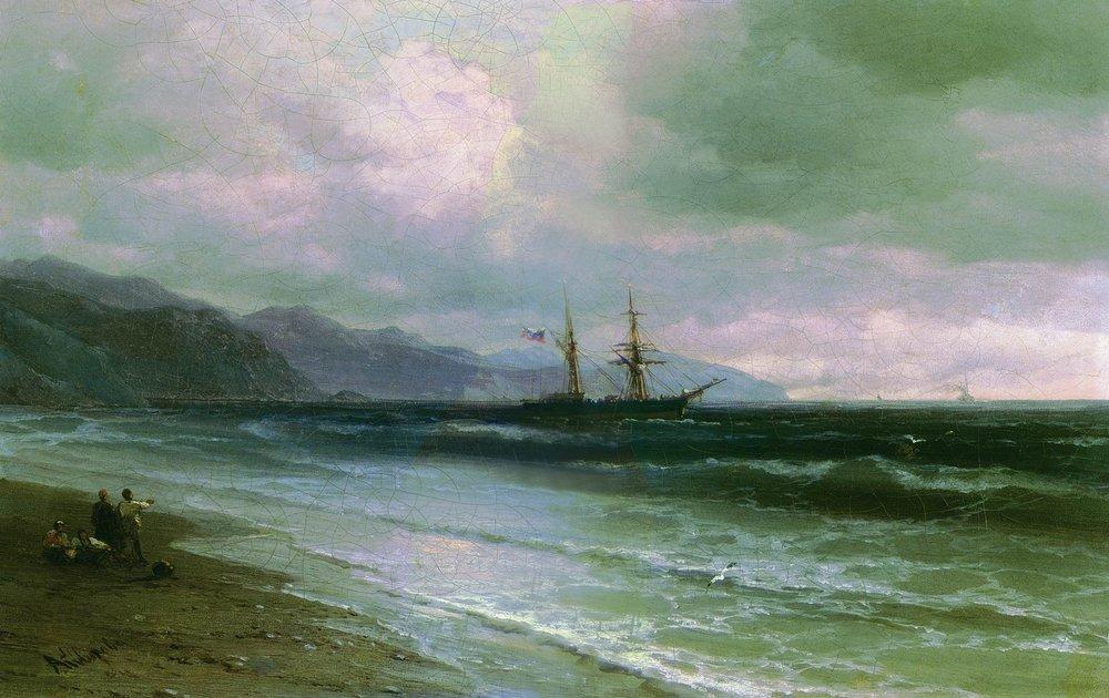 Landscape with a schooner - Ivan Aivazovsky