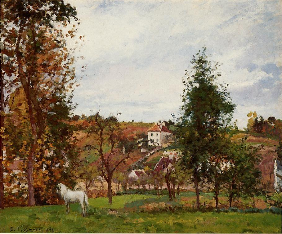 Landscape With A White Horse In A Field, L'Ermitage - Camille Pissarro
