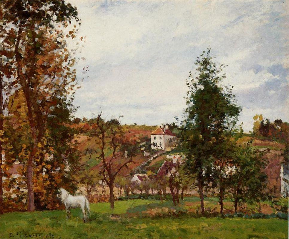 Landscape with a White Horse in a Meadow, L'Hermitage - Camille Pissarro