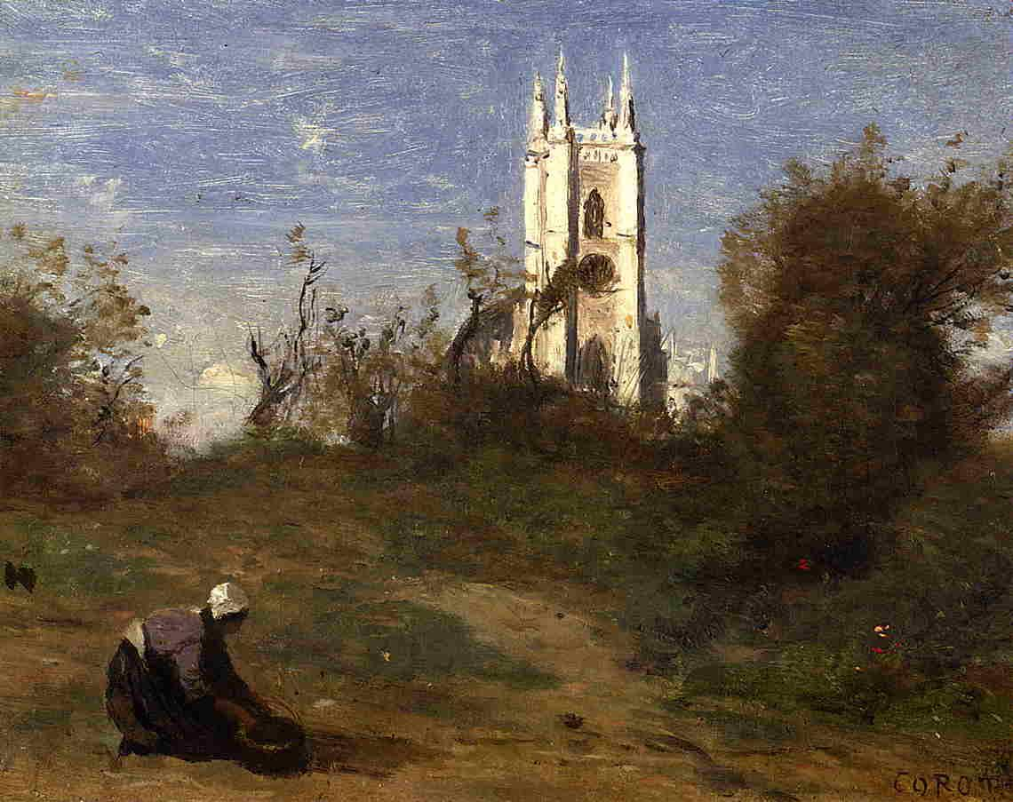 Landscape with a White Tower, Souvenir of Crecy - Camille Corot