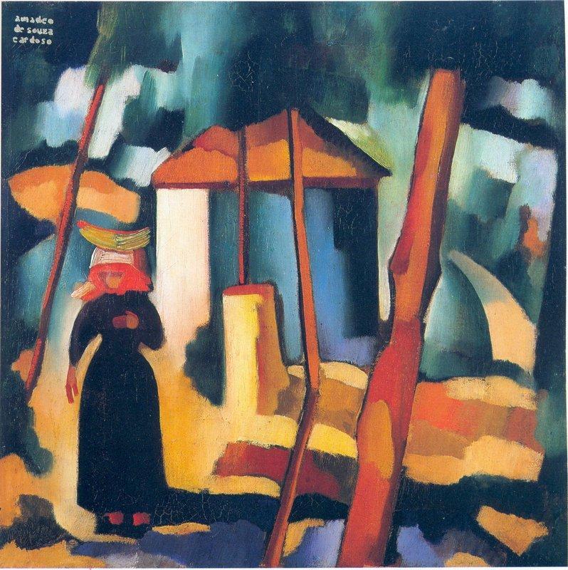 Landscape with black figure  - Amadeo de Souza-Cardoso