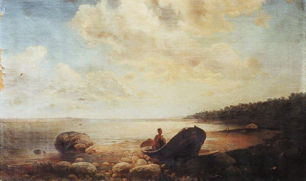 Landscape with boat - Aleksey Savrasov