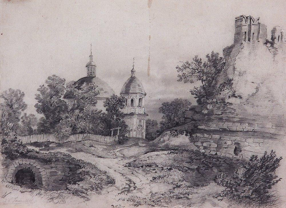 Landscape with Church and the ruins - Aleksey Savrasov