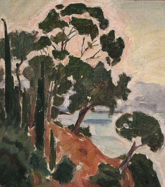 Landscape with Cypresses and Pines on a Rocky Coast - Konstantinos Parthenis