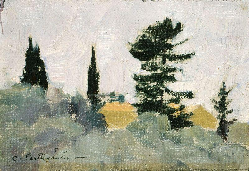 Landscape with Cypress Trees - Konstantinos Parthenis