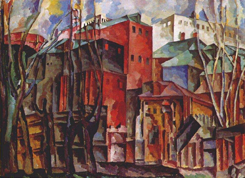 Landscape with dry trees and tall buildings - Aristarkh Lentulov