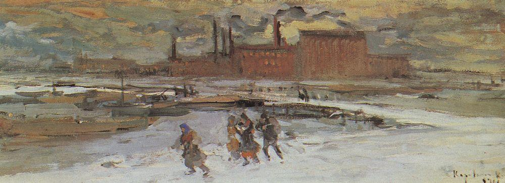 Landscape with factory buildings  - Konstantin Korovin