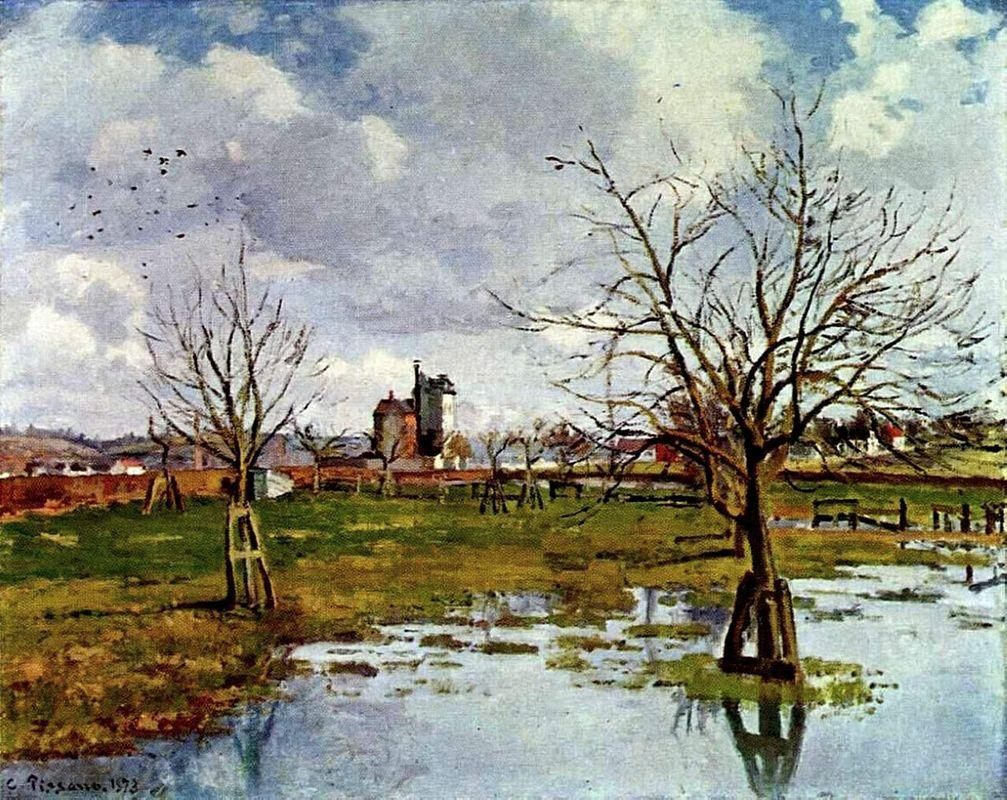 Landscape with Flooded Fields - Camille Pissarro